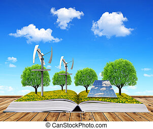 Ecological book with solar panel and wind turbines. Clean...