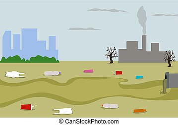Damage to industrial poisonous plants factories. Water and air pollution. Environmental issue. Emissions toxic hazardous radioactive waste. Domestic waste land.