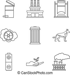 Ecological catastrophy icons set, outline style - Ecological...