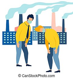 Ecological catastrophy. People are choking on the smoke of the plant. In minimalist style Cartoon flat Vector Illustration