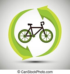 ecological concept bike trasnport icon