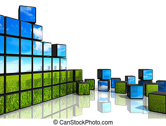 Ecological concept: cubes from wall with natural landscape...