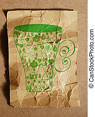 Ecological cup on the paper texture