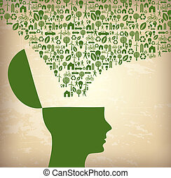 ecological icon over vintage background vector illustration