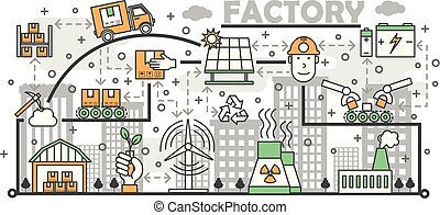 Ecological factory concept vector flat line art illustration