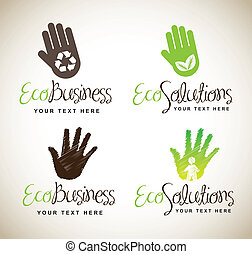 Ecological hands for business and solutions over white...