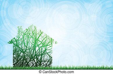 ecological house - conceptual vector illustration, eps10
