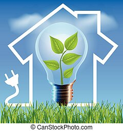 Environmental friendly energy. Energy saving concept Eco house. Think green concept