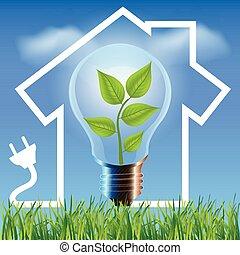 Ecological house - Environmental friendly energy.Energy...