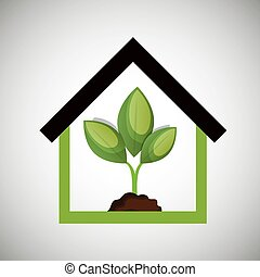 ecological house plant icon design
