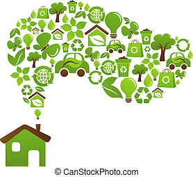 Ecological house - vector design - Green house with icons of...