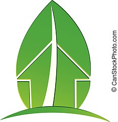 Ecological house with environmental leaf vector logo