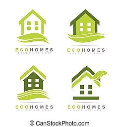 Ecological houses real estate logo design