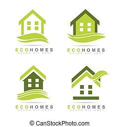 Ecological houses real estate logo design