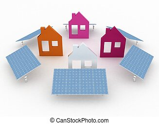 Ecological houses with solar panels, environmentally...