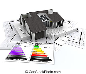 ecological housing project - 3D rendering of a house, on top...