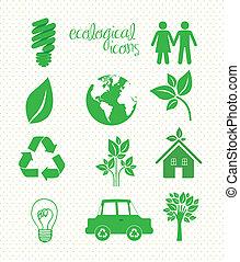 ecological icons - illustration of ecological icons on...