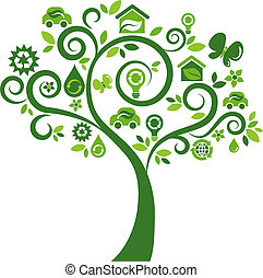 Ecological icons tree - 2 - Green tree with many ecological...