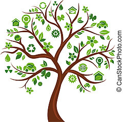 Ecological icons tree - 3 - Green tree with many ecological...