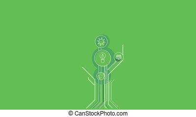 Ecological Icons Tree. Bio Energy. 4K - Ecological Icons...