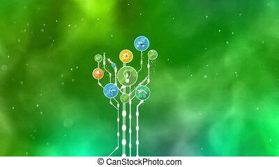 Ecological Icons Tree. Bio Energy