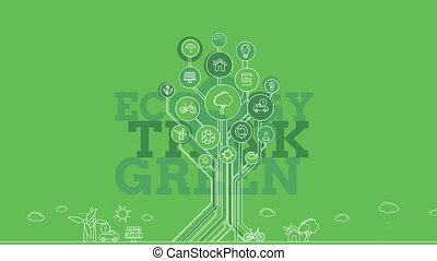 Ecological Icons Trees. 4K - Ecological Icons Tree -...