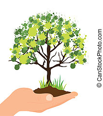 ecological illustration of a hand planting a tree, vector ...