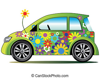 Ecological illustration with stylized green flower power colorful car, full scalable vector graphic