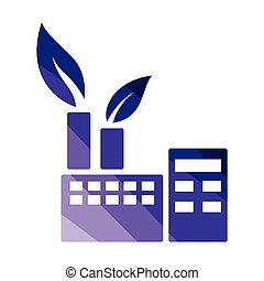Ecological industrial plant icon. Flat color design. Vector...