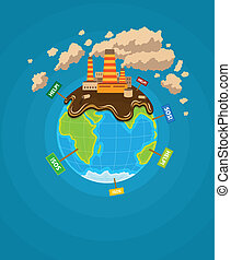 Ecological infographics Earth planet ecocatastrophe