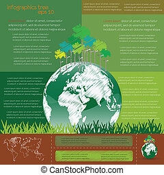 ecological infographics with tree