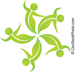 Ecological leafs team logo - Teamwork ecological leafs icon...