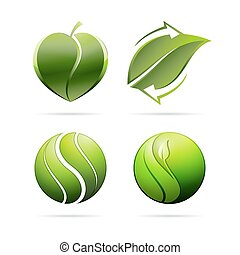 Ecological leaves concept icons. Heart, recycling, yin yang. Vector illustration.