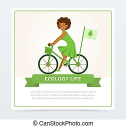 Ecological lifestyle concept with girl riding a bicycle