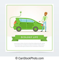 Ecological lifestyle concept with man showing electric car