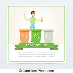 Ecological lifestyle concept with man throwing out garbage
