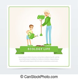 Ecological lifestyle concept with mom and son planting a tree