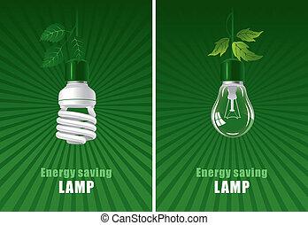 Ecological lightbulbs set. Concept illustration.