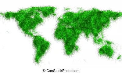 Ecological map of the world in 4K - moving green grass - ...