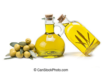 Ecological olive oil. - Jars with olive oil and some olives...