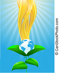 Ecological planet on green leafs