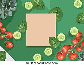 Ecological products composition with branch of red tomatoes, spinach and cucumbers