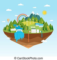 Ecological sources of renewable energy - Vector illustration...