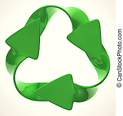 Ecological sustainability: green recycling symbol isolated...