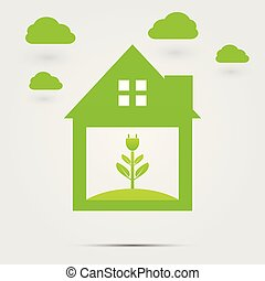 Ecological symbol of a green home socket or green logo.Green clouds,vector illustrations