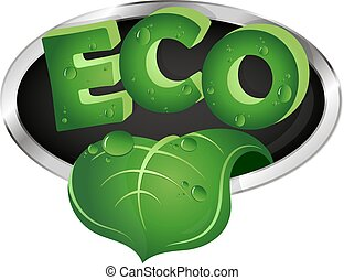 Ecological symbol with green leaf