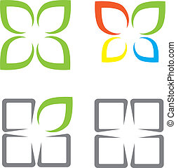 Ecological symbols leaves window and butterfly