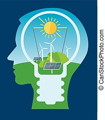 Ecological thinking green energy. - Stylized Male head...