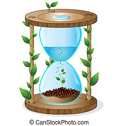 Vector abstract illustration on an ecological theme with the image of a sand-glass.