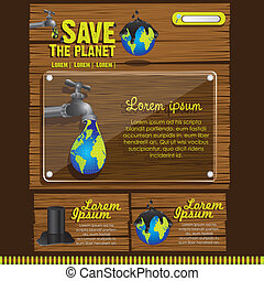 ecological website design on a wooden background, vector illustration